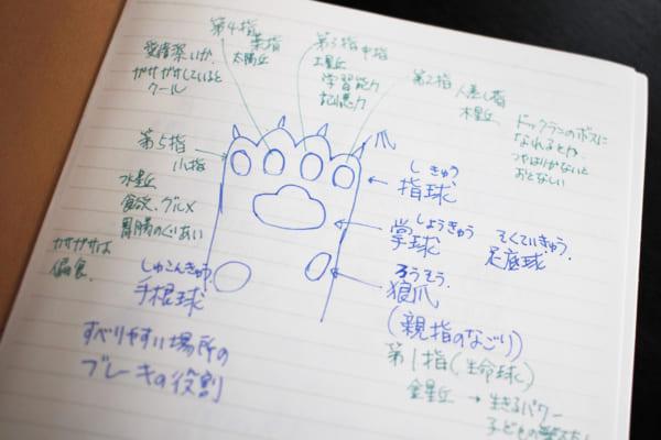 松岡先生の肉球占いノート。人の手相と同じく動物も手首(手根球)まで見る。