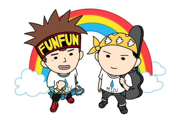 待望のミニアルバム『MIZU』をリリースしたデュオ、MIZUのジンジン(左)とガンガン
