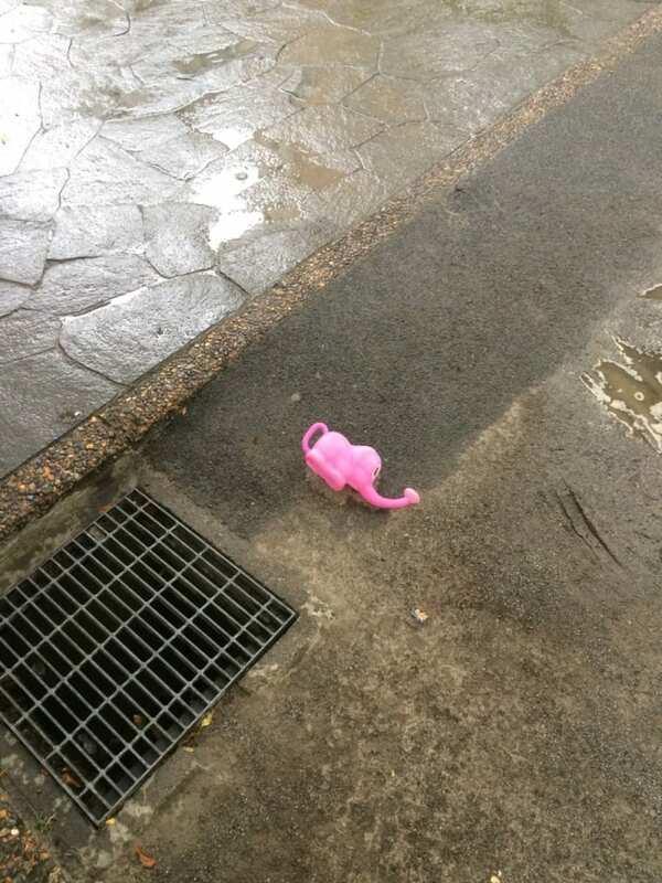 渋谷区広尾の路上にて発見。この落とし主はもちろんあの人しかいない……。(写真/ダーシマ)