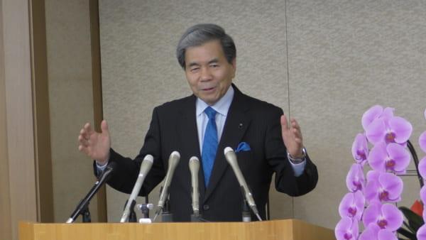 再選を果たした蒲島熊本県知事。(撮影/畠山理仁)