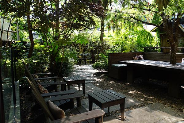 ありし日の、横山邸の庭に生えていた大木がそのまま生かされているテラス
