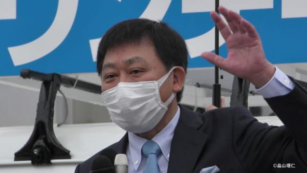 映画『はりぼて』にも登場している森雅志富山市長。(撮影/畠山理仁)