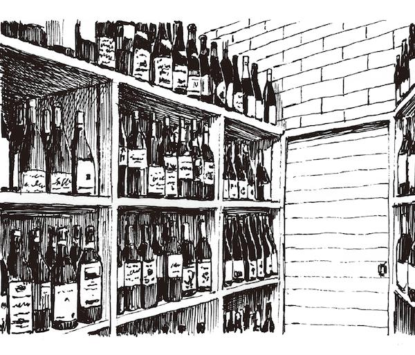 化粧室手間のワイン倉庫もインテリアのアクセントになって