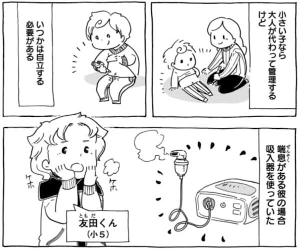 はじめは吸入器の使い方がおぼつかない友田くんだったが……。