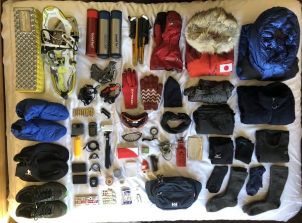 前回のアラスカレース時の装備の数々。(写真提供/北田雄夫)