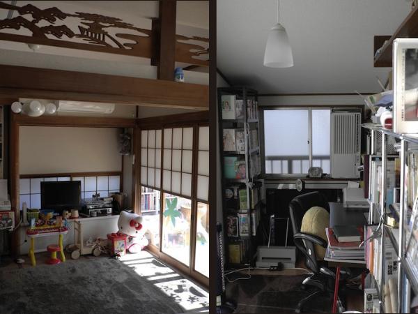2011年当時住んでいた家のリビングと仕事部屋。