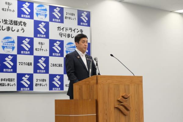 2020年7月の鹿児島県知事選挙で当選した塩田康一現知事。選挙時は、馬毛島の計画について賛否を明らかにしてなかった。(撮影/橋本恵美)