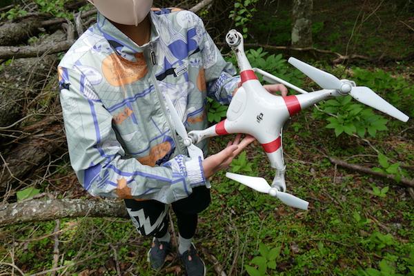 DJI社製のドローン墜落機体。